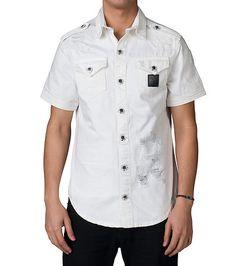 HERITAGE MENS WHITE BULL DENIM SS BUTTON UP SHIRT White Button Up Shirts,  Jazz, c0c4cfd47ea