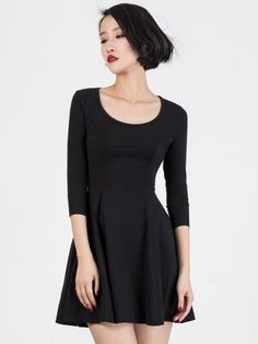 80a4fba78a Black Scoop Neck 3 4 Sleeve Skater Dress
