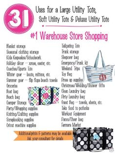 31 Uses for Thirty-One Utility Totes. Thirty One Games, Thirty One Party, My Thirty One, Thirty One Utility Tote, Large Utility Tote, Thirty One Facebook, Sleepover Bag, Thirty One Organization, Flag Shop