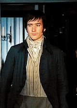 """""""Costumes are also used to show Mr. Darcy's evolution as he comes to love Elizabeth Bennet and let go of his snobbery. His costume had a series of stages. The first time we see him he's at Meryton, where he has a very stiffly tailored jacket on, and he's quite contained and rigid. He stays in that rigid form for the first part of the film...."""