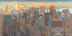 "Yvonne Jacquette, ""N.Y. Aerial View from Helicopter (Looking East from Hudson Yards Area) II"" (2011–12), oil on linen, 49 x 97 1/2 in"