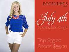 "Start planning your perfect #july4th outfit! Shea is looking patriotic in our Blue Lace Top and high waist white shorts. Just add a red statement necklace and you're ready to go! #eccentricsboutique #fourthofjuly #july4thfashion #july #patriotic #american #summerfashion   ""Like"" Eccentrics on Facebook: https://www.facebook.com/EccentricsByLauren"