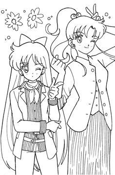 mathilda et marcy Printable Adult Coloring Pages, Coloring Pages For Girls, Cute Coloring Pages, Coloring Books, Sailor Jupiter, Sailor Venus, Sailor Mars, Sailor Scouts, Sailor Moon Crafts