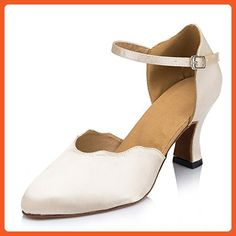 Shoesland W516 Women's Round Toe Chunky Heel Salsa Tango Ballroom Latin Dance Dance Shoes Khaki Satin 10 D (M) US - Athletic shoes for women (*Amazon Partner-Link)