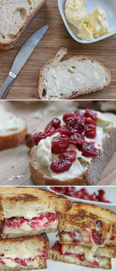 Grilled cranberry & brie sandwich... This is the grown up version of your classic grilled cheese! It's a lot prettier, too. Hop on over to Cooking Stoned for the full recipe and instructions. They've used an Italian batard bread spread with soft brie and roasted cranberries, and then grilled to perfection on an iron skillet.