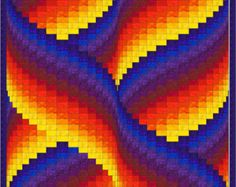 Ribbon Swirls Bargello Quilt Pattern To me, the design of this quilt looks like a ribbon being swirled around by a gymnast so thats what I . Bargello Quilts, Motifs Bargello, Bargello Quilt Patterns, Quilting Patterns, Pixel Art, Graph Paper Art, Ribbon Art, Quilt Sizes, Plastic Canvas