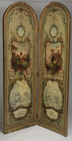Continental oil on canvas room divider, depicting scenes of children engaged in various pursuits. Late 19th / early 20th century