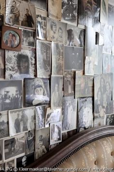wall of photos - gorgeous!  Wondering about protecting the photos, though.  Maybe large board with glass cover would work well.  Great for a gallery wall, but less formal/fussy than many many frames.