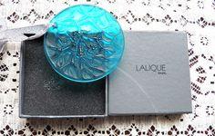 "Lalique Christmas ornament Noel 1989 with box Light Blue 2 1/2"" Diameter"