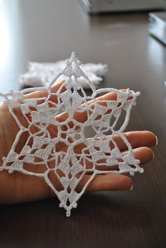 The price is for ONE SNOWFLAKE. This wonderful handmade crochet lace snowflakes ., ornaments baby The price is for ONE SNOWFLAKE. This wonderful handmade crochet lace snowflakes . Crochet Snowflake Pattern, Crochet Snowflakes, Crochet Motif, Crochet Doilies, Crochet Flowers, Crochet Patterns, Crochet Lace, Baby Ornaments, Crochet Christmas Ornaments