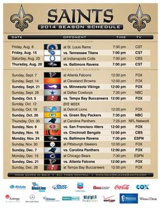 2014 New Orleans Saints Schedule! Click the photo for a PDF: http://www.neworleanssaints.com/assets/2014_saints_schedule.pdf