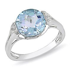 9.0mm Blue Topaz and Diamond Accent Ring in Sterling Silver - Zales  *color of his eyes*