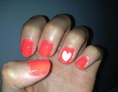 Neon orange and white heart so cute!