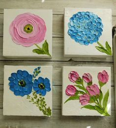 Custom Small and Ranunculus Impasto Oil Painting, Mix and Match Minimalist Paintings for Wall, Bridesmaid Gifts, Nursery Custom. Mini Canvas Art, Diy Canvas, Small Canvas, Sculpture Painting, Painting & Drawing, Watercolor Paintings, Art Mini Toile, Simple Oil Painting, Open Art