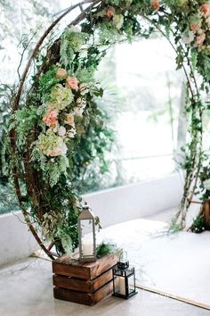 Circular Floral Arch with Greenery for a Rustic Wedding #weddingarch #floralarch #ceremony