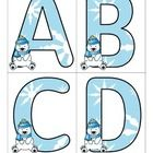 FREE! This is a set of large letters with a Winter Polar Bear theme. Includes both upper and lower case. 4 letters to a page. Print on cardstock.  Use to...