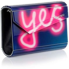 Jimmy Choo Candy neon text clutch (983,070 KRW) ❤ liked on Polyvore featuring bags, handbags, clutches, purses, bolsas, accessories, leather purses, man bag, leather cross body purse and pink purse