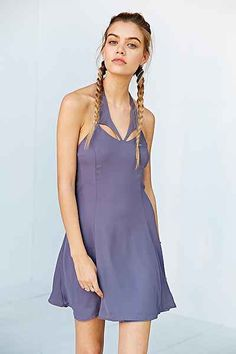 Kimchi Blue Chiffon Neck Cut-Out Halter Dress - Urban Outfitters