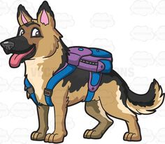 A German Shepherd carrying a backpack #cartoon #clipart #vector #vectortoons #stockimage #stockart #art