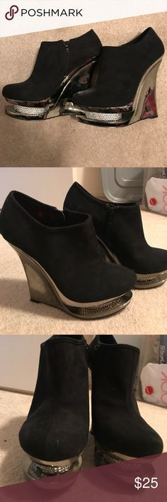 Frederick's  of Hollywood booties 4 1/2 inch wedge booties with rhinestones, zipper, barely used once Frederick's of Hollywood Shoes Ankle Boots & Booties