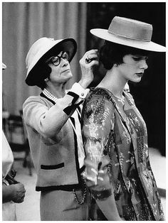Chanel with model Paule Rizzo (née Gluckson) 1955