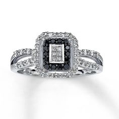 black diamond white gold rings