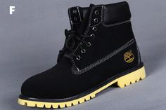 Fashion, style, mens and womens shoes, mens wear,Custom Timberland 6 Inch Boots For Men Black with Yellow Soles UK,cheap classic timberland boots,all timberland boots black