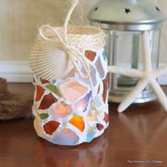 Sea Glass Mason Jar - * THE COUNTRY CHIC COTTAGE (DIY, Home Decor, Crafts, Farmhouse)