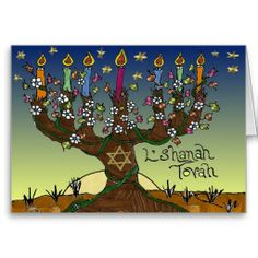 Rosh Hashanah L'Shanah Tovah Tree Of Life Menorah Greeting Card by Lee Hiller #Photography and #Design #Judaica