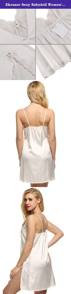 Ekouaer Sexy Babydoll Women's Satin Lace Nightie Short Nightgown,White,Medium. Ekouaer Women's Satin Lace Trim Slip Chemise Nightgown Fabric:95.6% Polyester/4.4% Elastane ;Lace:90% Polyamide/10% Elastane Adjustable Spaghetti straps, V-neckline^Floral lace at neckline,empire waist and hemline^A-line silhouette hits at mid-thigh^ Perfect for loungewear and sleepwear,Our size are standard US size,please just choose your normal sleepwear size. Sexy silky satin chemise nightgown from S-2XL in...