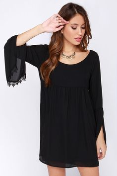 Lucy Love Emily Black Long Sleeve Dress at Lulus.com!