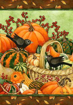 AUTUMN-GATHERING-BASKET-Fall-Pumpkin-Gourds-Custom-Decor-Decorative-House-Flag