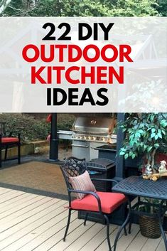 Learn how to build an outdoor kitchen on a budget. Easy outdoor upgrade with these inexpensive outdoor kitchen ideas. 22 DIY outdoor kitchens for your small backyard or big yard. Build Outdoor Kitchen, Outdoor Kitchen Design, Outdoor Kitchens, Outdoor Spaces, Outdoor Sinks, Outdoor Projects, Diy Projects, Garden Markers, Garden Types