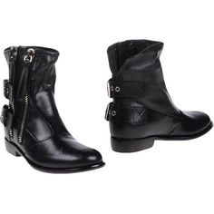 Giuseppe Zanotti Design Ankle Boots ($723) ❤ liked on Polyvore featuring shoes, boots, ankle booties, black, black ankle booties, black leather boots, black flat boots, flat booties and black leather bootie