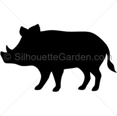 Boar silhouette clip art. Download free versions of the image in EPS, JPG, PDF, PNG, and SVG formats at http://silhouettegarden.com/download/boar-silhouette/