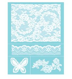 Martha Stewart Crafts™ Glass Silkscreen - Antique Lace-lg-tabletop, lace daisy border- on beveled edge of drawer(blue stenciled lace top , white stenciled daisy border edge. need white metallic FolkArt paint