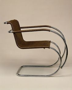 """MR"" Armchair by Ludwig Mies van der Rohe, 1927, tubular steel, painted caning. Metropolitan Museum of Art."