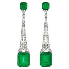 Art Deco Platinum, Emerald and Diamond Earrings.