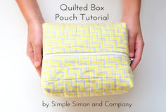 Quilted Box Pouch Tutorial - Simple Simon and Company Coin Purse Tutorial, Zipper Pouch Tutorial, Tote Tutorial, Tutorial Sewing, Pencil Boxes, Pencil Pouch, Quilt Binding Tutorial, Accessoires Divers, Small Sewing Projects