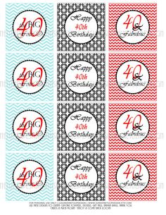 Tiffany Blue and Red Chevron is perfect for a 40th birthday! DIY Print at home as many times as needed! So Cute! 40th Birthday Black Tiffany Blue and Red by sunshinetulipdesign, $6.00