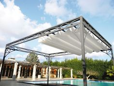 Self-supporting pergola / aluminum / PVC fabric sliding canopy / for…