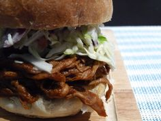 Root Beer Pulled Pork Sandwiches w/ Coleslaw Topping