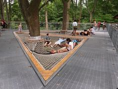 Cantilevered platform netting, cool idea for resting areas.