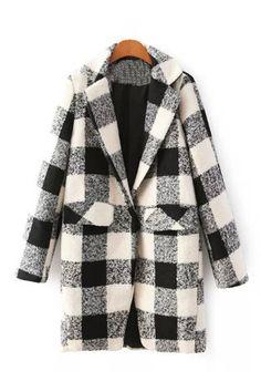 Milky Grey Marl Plaid Boyfriend Coat