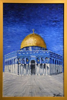 Islamic Art Calligraphy, Persian Calligraphy, Kinkade Paintings, Palestine Art, Dome Of The Rock, Mekka, Islamic Paintings, Islamic World, Sky Art