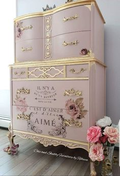 Chic and Shabby Furniture By Rebecca French Provincial Dressers Make Over Chic a. Chic and Shabby Pink Furniture, Decoupage Furniture, Hand Painted Furniture, Refurbished Furniture, Upcycled Furniture, Shabby Chic Furniture, Shabby Chic Decor, Furniture Makeover, Cool Furniture