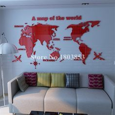 World Map crystal acrylic wall stickers office living room sofa backdrop Home decor Art Sticker Decals Christmas Gift - Buy it Now! Tv Wall Decor, Wall Stickers Home Decor, Living Room Sofa, Living Room Decor, Tv Wanddekor, 3d Crystal, Bed Linen Sets, 3d Wall, Creative Decor