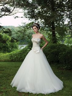 Ball gown tulle bridal gown with dropped waist