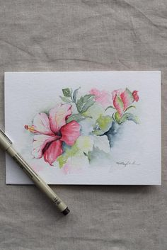 Pink magenta hibiscus watercolor hand-painted card – prints – Famous Last Words Watercolor Cards, Watercolour Painting, Watercolor Flowers, Drawing Flowers, Watercolors, Illustration Rose, Magenta, Paint Cards, Flower Art