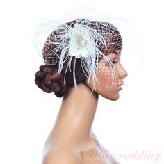 Bridal Wedding flower Birdcage feather Veil with Pearl and Rhinestone Fascinator #SpecialOccasionOutdoorWedding